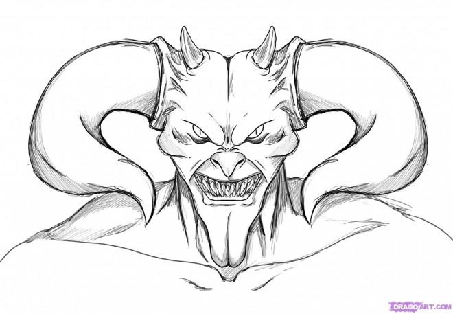 Coloriage diable avec ses cornes dessin gratuit imprimer - Coloriage de diable ...