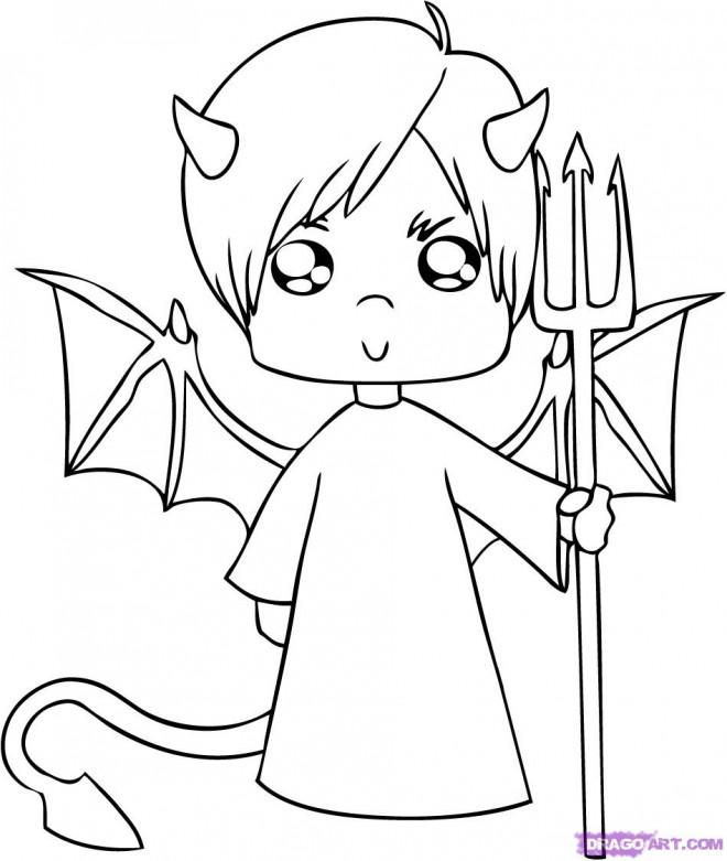 Coloriage enfant diable avec des ailes dessin gratuit - Coloriage petit diable ...