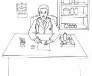Coloriage Docteur dans son cabinet