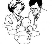 Coloriage Docteur et bébé