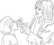 Coloriage dessin  Docteur et enfant