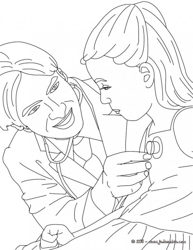 Coloriage et dessins gratuits Docteur et petite malade à imprimer