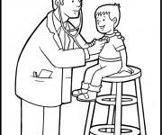 Coloriage et dessins gratuit Docteur examine la respiration à imprimer