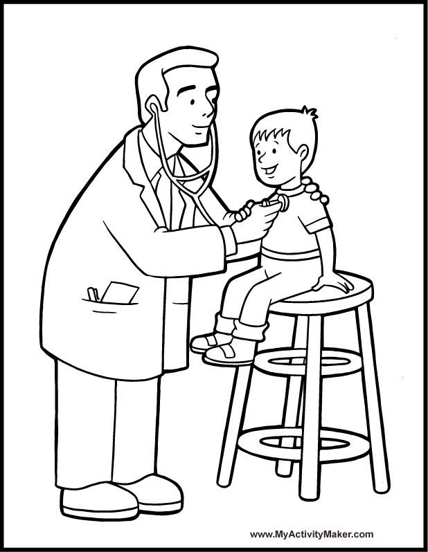 Coloriage et dessins gratuits Docteur examine la respiration à imprimer