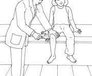 Coloriage Docteur examine une fille