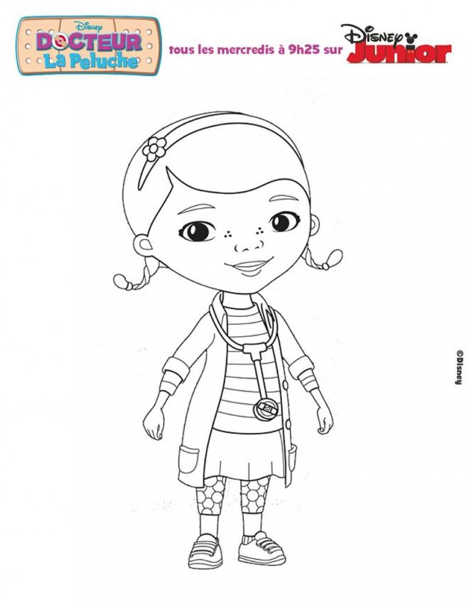 Coloriage et dessins gratuits Docteur la Peluche fille à imprimer