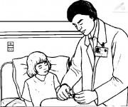 Coloriage Docteur soigne une fille