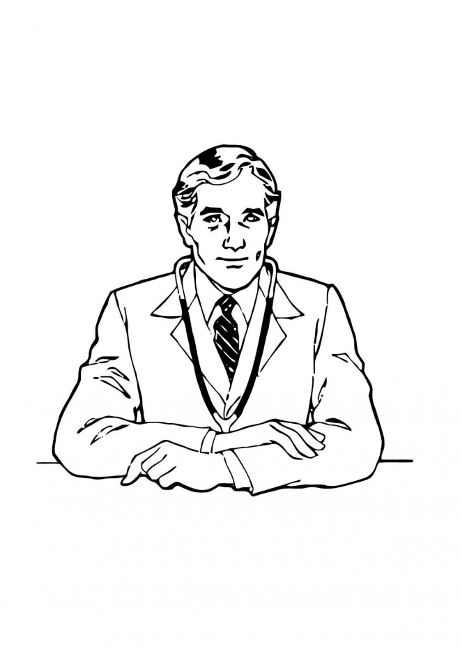 Coloriage et dessins gratuits Docteur sur son bureau à imprimer