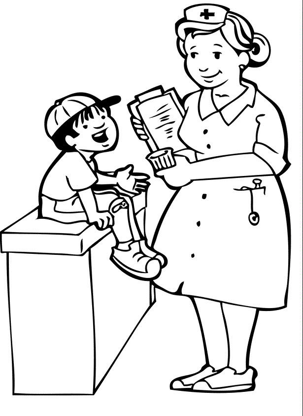 Coloriage et dessins gratuits L'infirmière souriante à imprimer