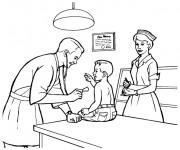 Coloriage Le docteur examine un enfant