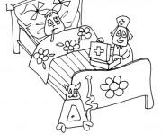 Coloriage Malade à l'hôpital