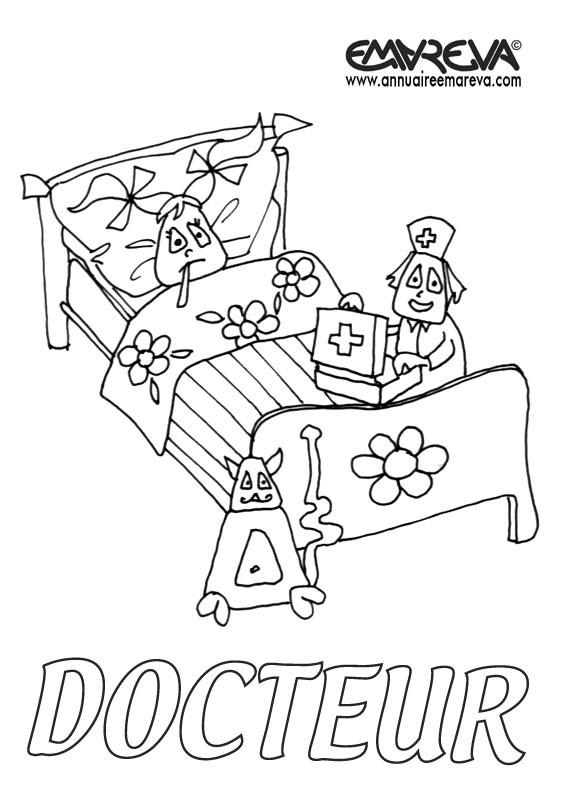 Coloriage et dessins gratuits Malade à l'hôpital à imprimer