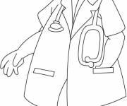 Coloriage un docteur et son stéthoscope
