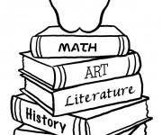Coloriage Des livres et une pomme