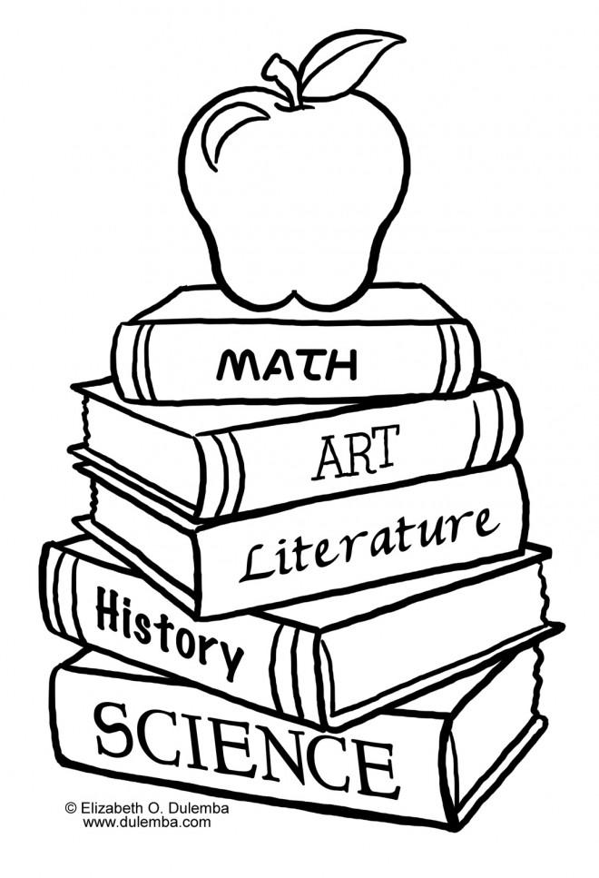 Coloriage Des Livres Et Une Pomme Dessin Gratuit A Imprimer