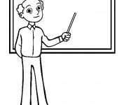 Coloriage Enseignant à côté du tableau