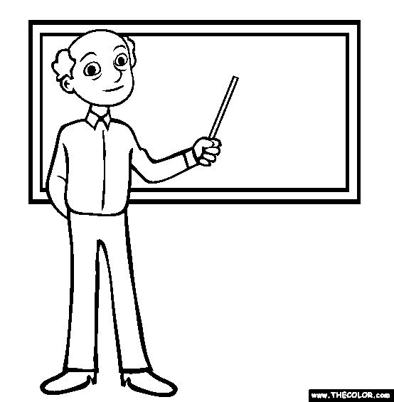 Coloriage et dessins gratuits Enseignant à côté du tableau à imprimer