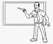 Coloriage Enseignant donne le cours