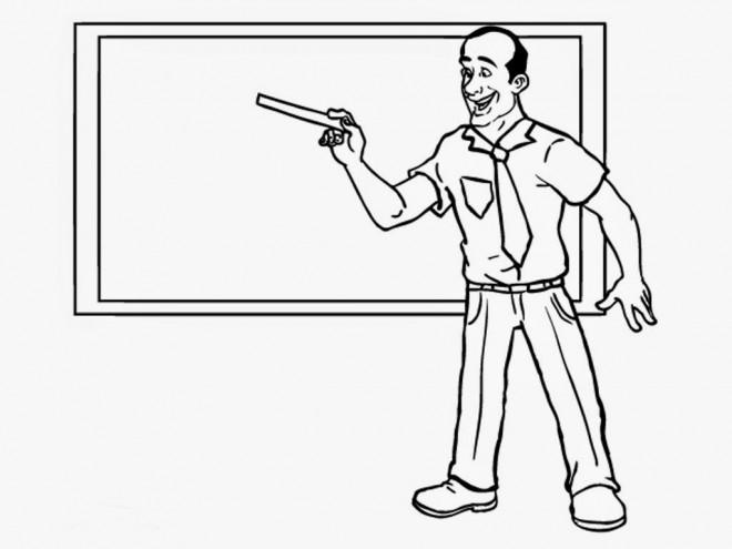 Coloriage et dessins gratuits Enseignant donne le cours à imprimer