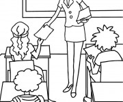 Coloriage Enseignante passe les papiers d'examen