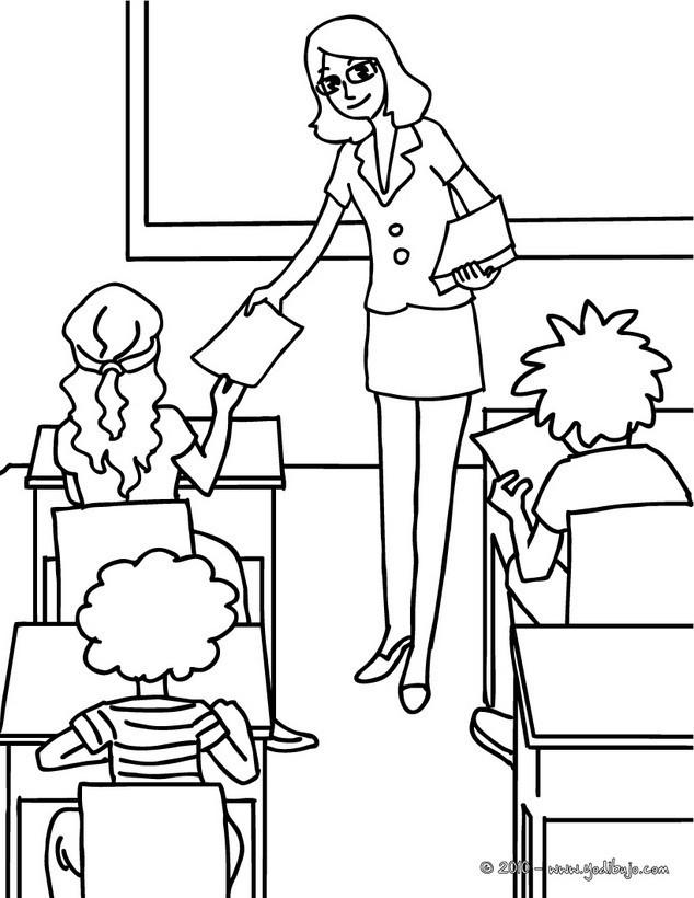 Coloriage et dessins gratuits Enseignante passe les papiers d'examen à imprimer