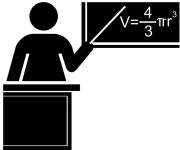 Coloriage Enseignante pendant la leçon de mathématiques
