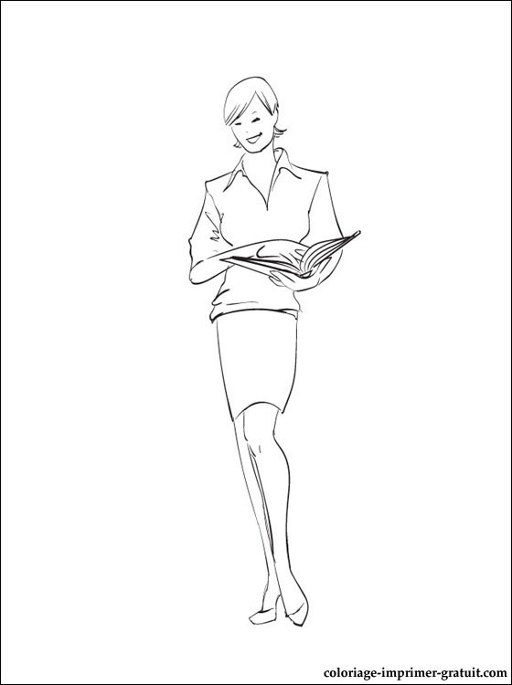Coloriage et dessins gratuits Enseignante porte un livre à imprimer