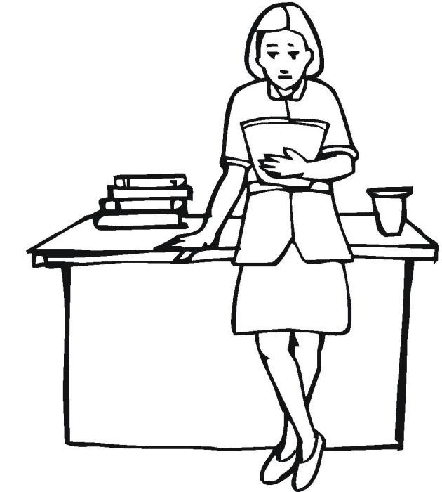 Coloriage et dessins gratuits Enseignante près de sa table à imprimer