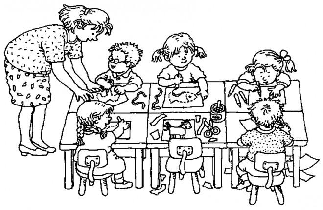 Coloriage et dessins gratuits Institutrice et élèves en classe à imprimer