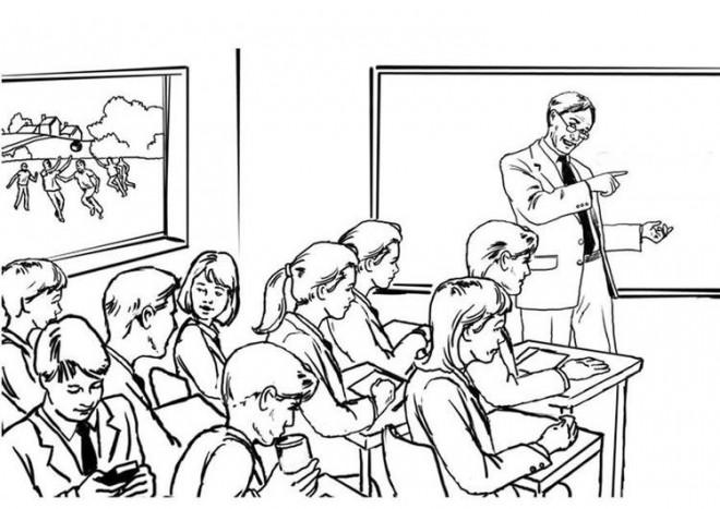 Coloriage et dessins gratuits Le professeur explique le cours aux élèves à imprimer
