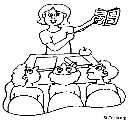 Coloriage et dessins gratuits Maîtresse et élèves en classe à imprimer