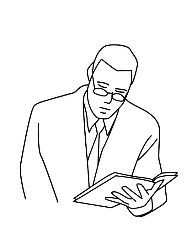 Coloriage et dessins gratuits Professeur et livre à imprimer