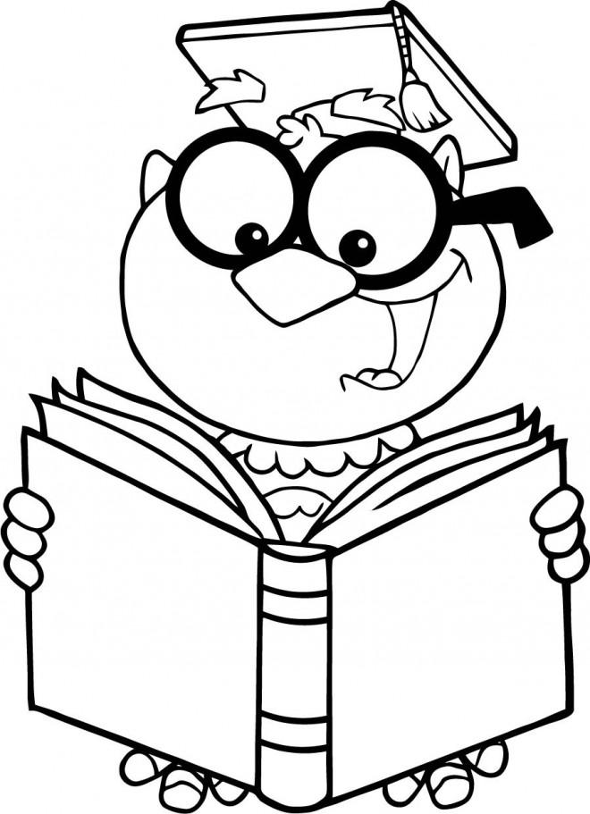 Coloriage Un Professeur Lit Un Livre Dessin Gratuit A Imprimer