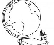 Coloriage Une carte du monde et des livres