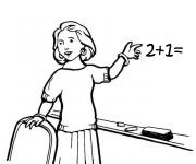 Coloriage Une enseignante montre le tableau