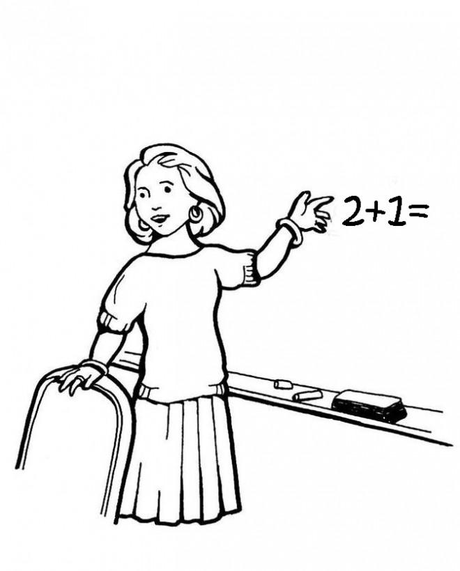 Coloriage et dessins gratuits Une enseignante montre le tableau à imprimer