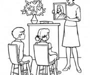 Coloriage et dessins gratuit Une enseignante montre une peinture  de jésus aux élèves à imprimer