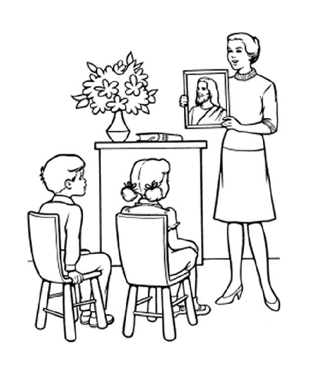 Coloriage et dessins gratuits Une enseignante montre une peinture  de jésus aux élèves à imprimer