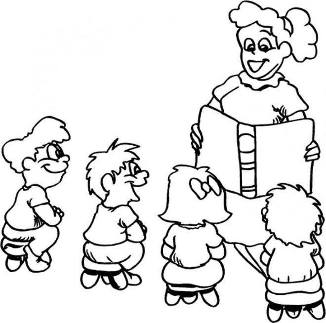 Coloriage une maîtresse lit un livre aux élèves