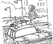 Coloriage Fantome chasse une voiture