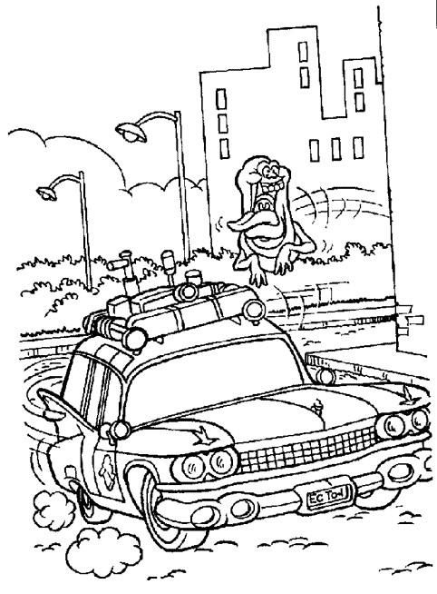 Coloriage et dessins gratuits Fantome chasse une voiture à imprimer