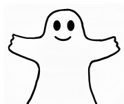 Coloriage et dessins gratuit Fantome de Halloween facile à imprimer