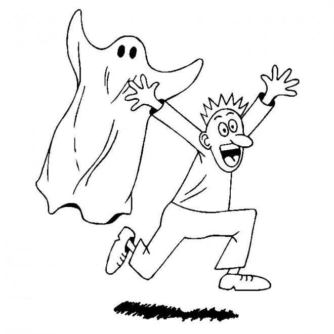 Coloriage et dessins gratuits Fantome et homme à imprimer