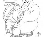 Coloriage Fantome fait peur à un enfant