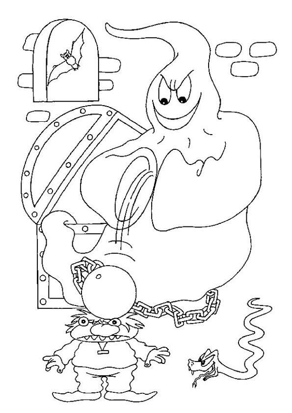 Coloriage et dessins gratuits Fantome fait peur à un enfant à imprimer