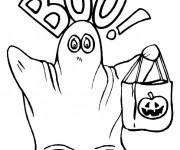 Coloriage Fantome portant sac de Halloween