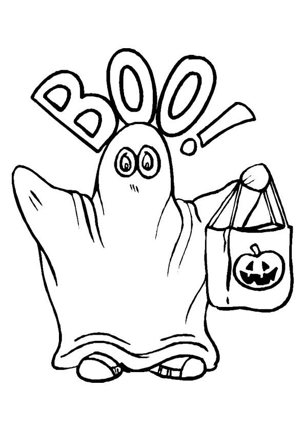 Coloriage et dessins gratuits Fantome portant sac de Halloween à imprimer