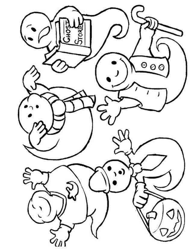 Coloriage et dessins gratuits Les fantomes lisant un livre à imprimer