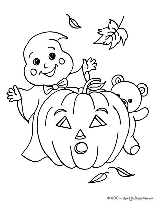 Coloriage et dessins gratuits Petit fantome et citrouille à imprimer
