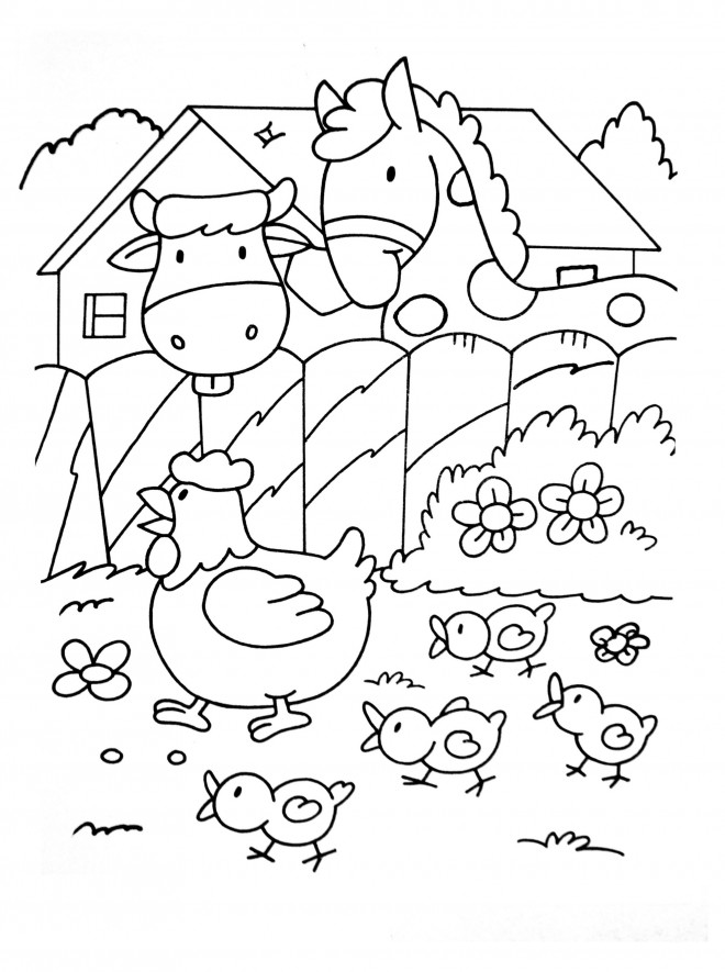 Coloriage cheval et vache dessin gratuit imprimer - Coloriage de fermier ...